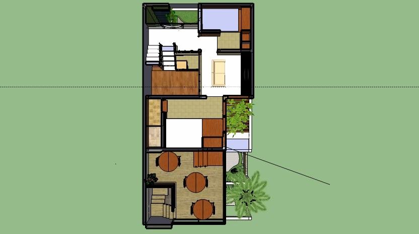 Denah lantai 2 rumah usaha dan kos-kosan 6 x 12 & Desain Rumah Di Lahan Sempit: Denah Rumah Sekaligus Tempat Usaha dan ...