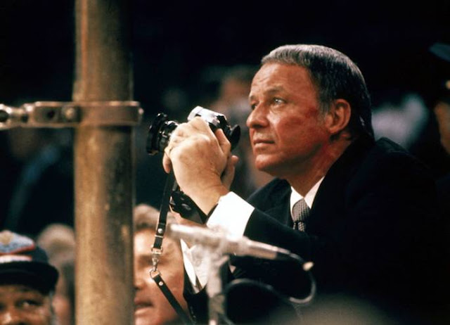 Frank Sinatra at the match Ali vs. Frazier, 1971