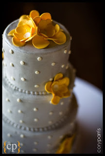 White wedding cake with yellow flowers - Sharon's wedding cakes