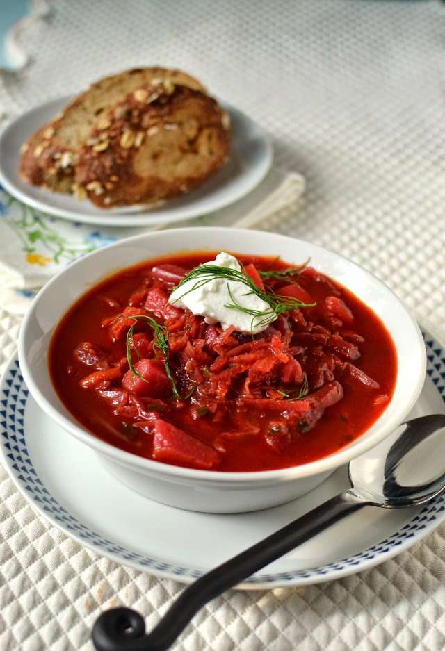 Borscht -- Russian Beet & Vegetable Soup (Vegetarian Recipe)