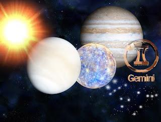 Sun, Mercury, Venus and Jupiter in Gemini