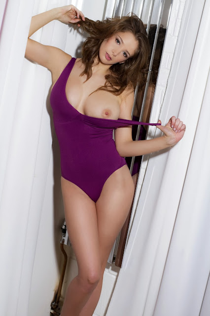 Emily Shaw Topless Purple Swimsuit Photoshoot By Frank White