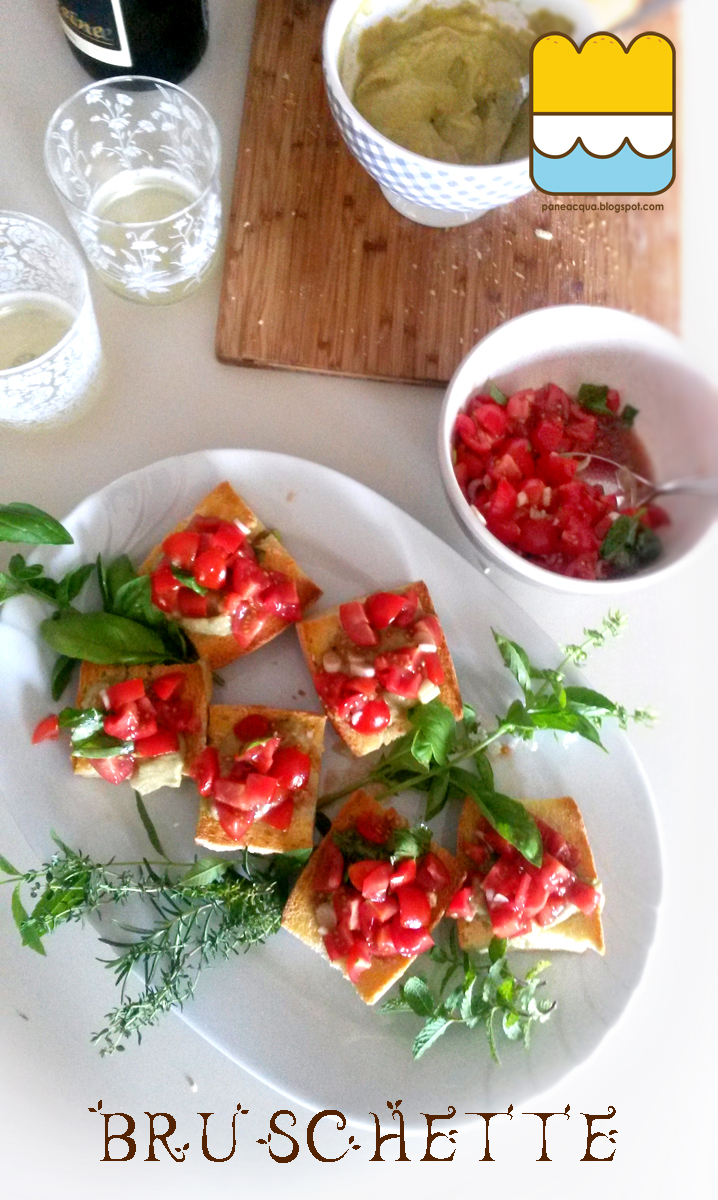 aperitivo sul balconcino, capitolo 3. bruschette con crema di melanzane e pachino, crema di acciughe e olive nere e cruditè.