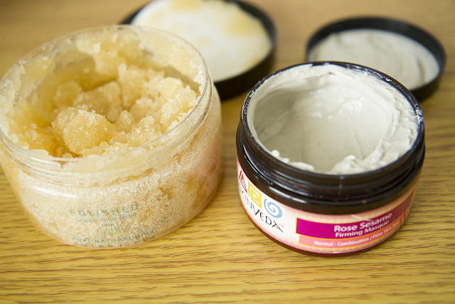 Photo of Pure Natural Diva Scrub and Skinveda Mask.