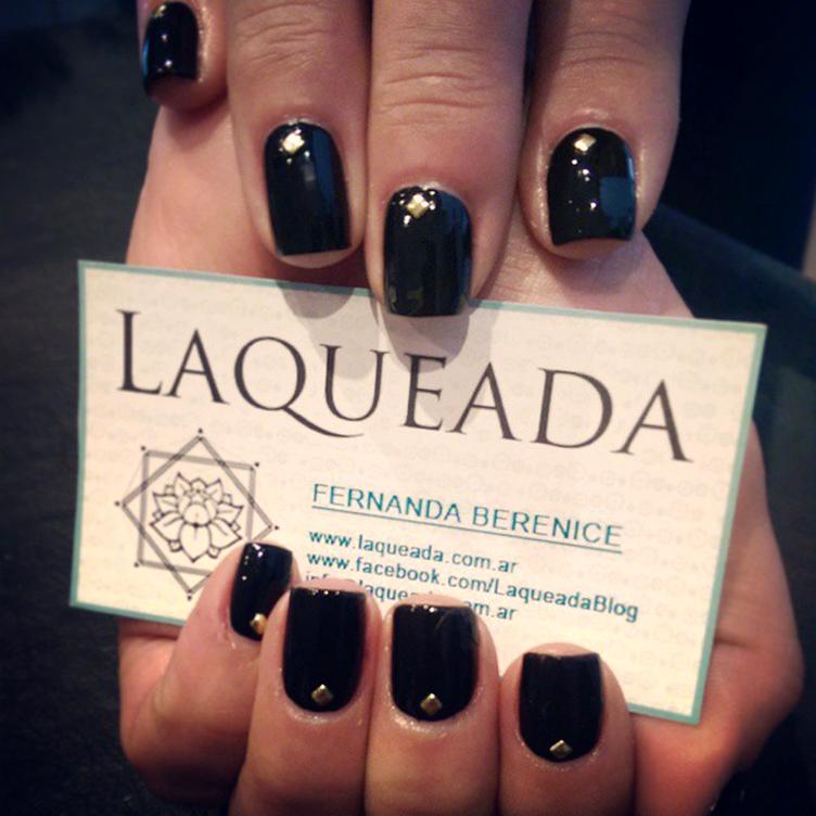 Black & studs nail art