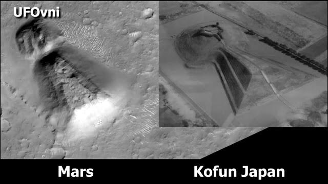La grande similitude entre un grand 'temple' découvert sur Mars et une tombe japonaise