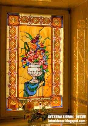 stained glass in bathroom interior
