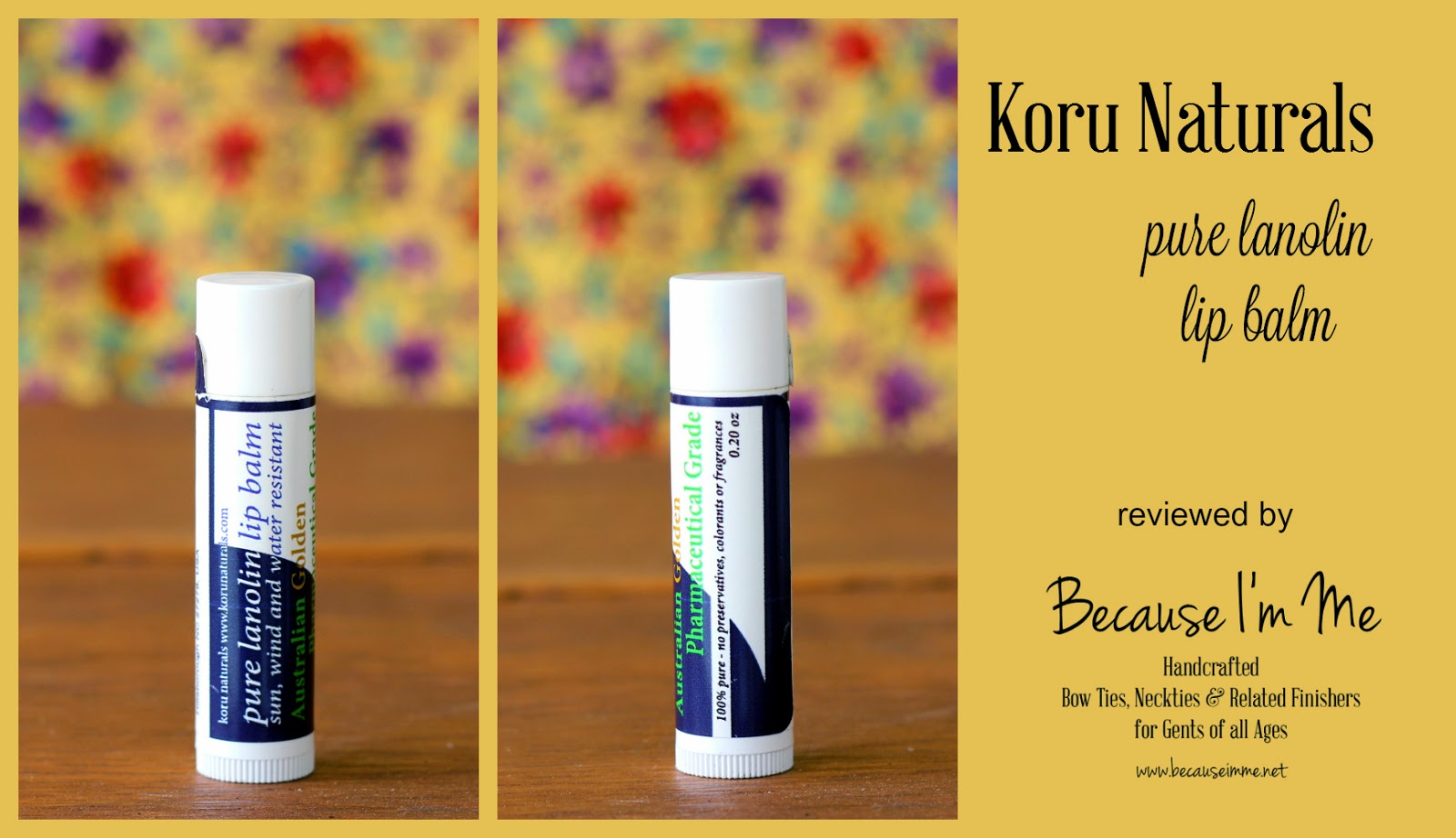 Gentle, effective, natural chapped and irritated lip relief: Pure Lanolin Lip Balm by Koru Naturals, reviewed at Because I'm Me