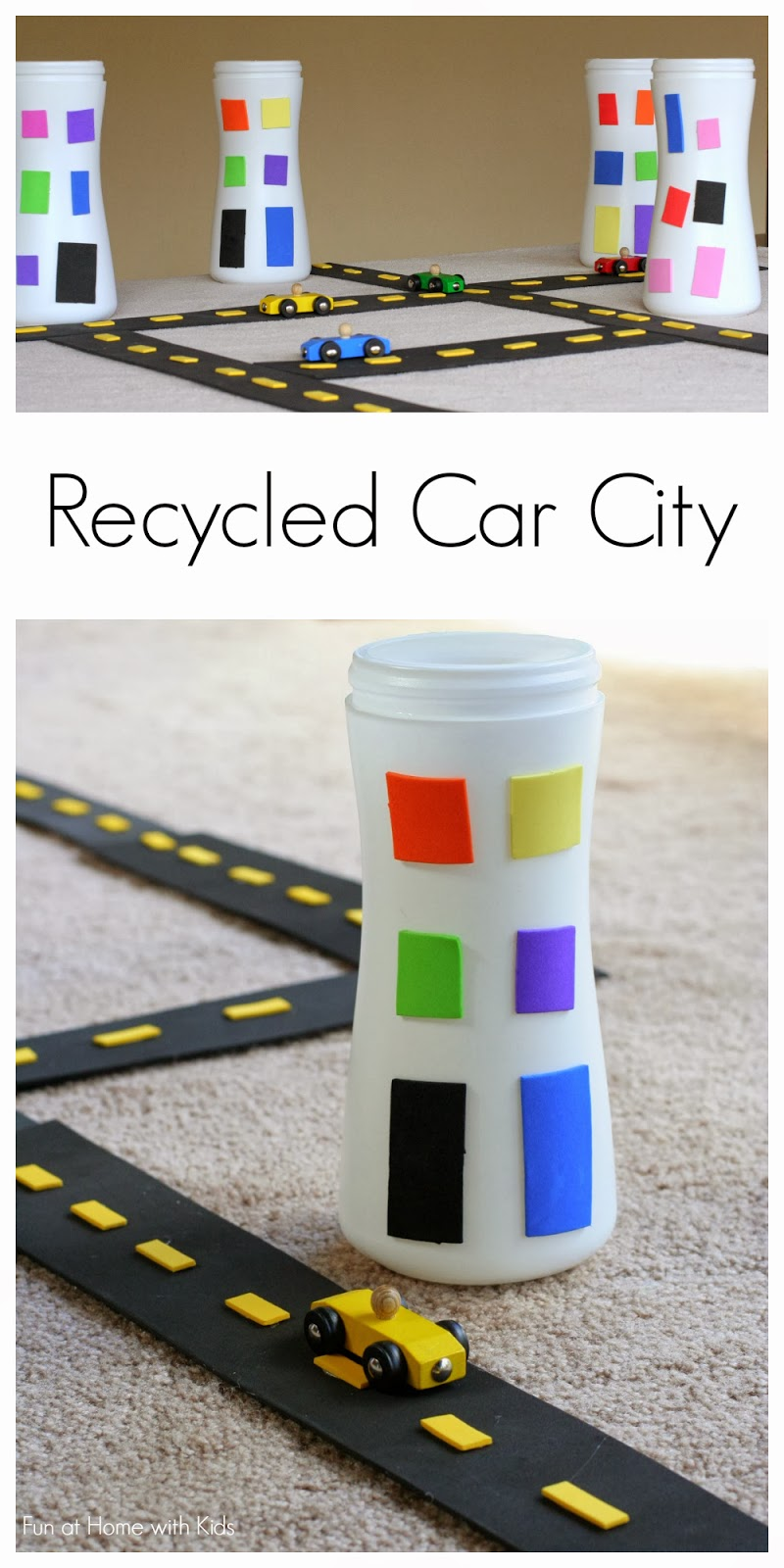 Create your own amazing car city using recycled items - this whole city cost less than 3 dollars to make!  From Fun at Home with Kids