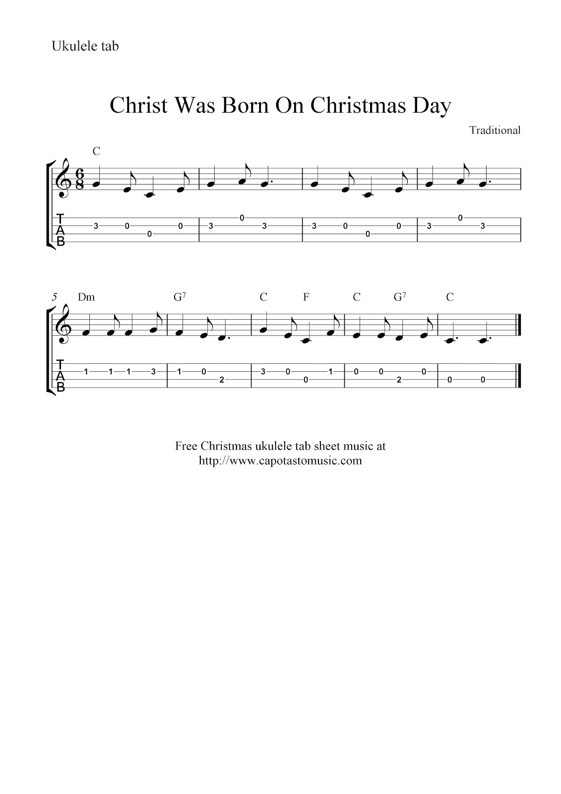 Was born on christmas day free christmas ukulele tabs sheet music
