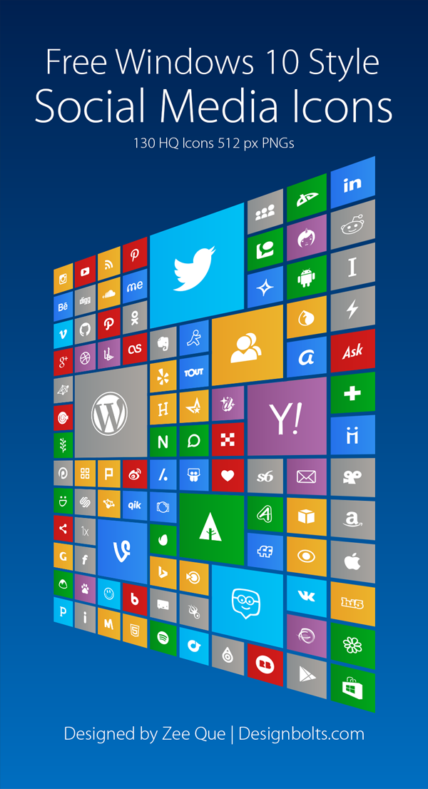 130 Windows 10 Style Social Media Icons