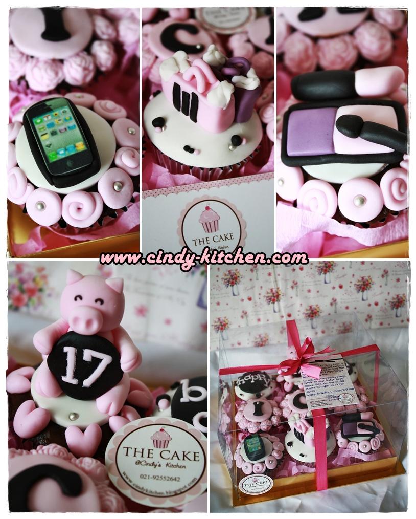 Thecake pink black cupcake set for Tukang kitchen set