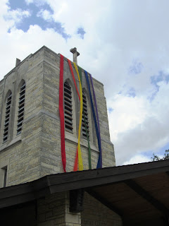 Grace Lutheran church Bell Tower with Pride Banner
