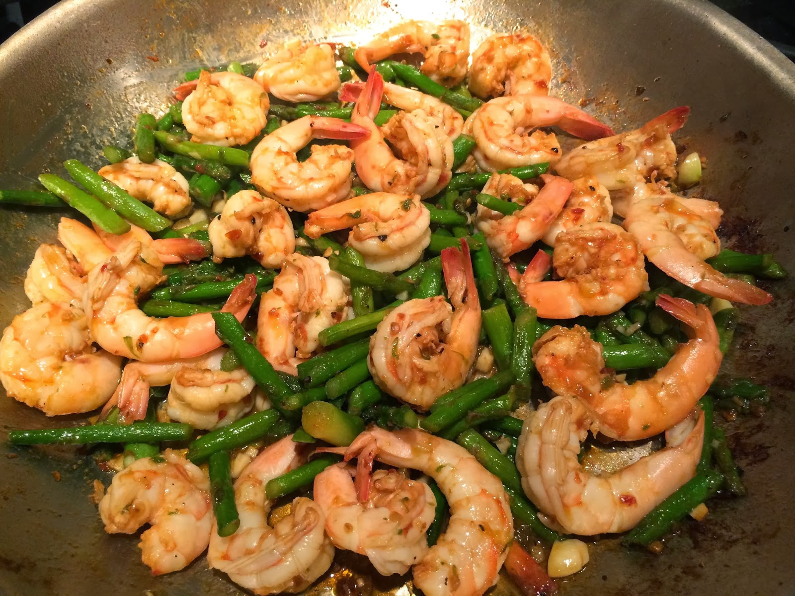 ... is opaque (pink). Mix the sauce well with the shrimp and asparagus