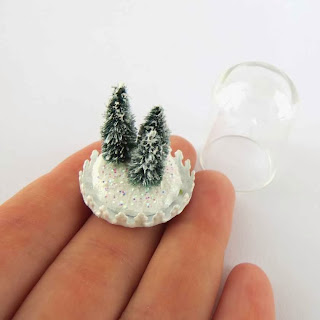 Christmas trees in miniature for dollhouse