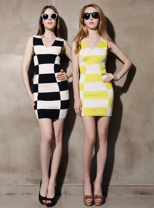 Checkerboard Sweater Bodycon Dress