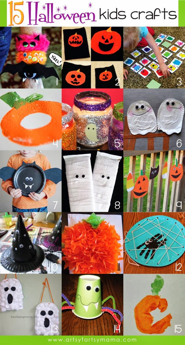 15 Halloween Kids Crafts at artsyfartsymama.com #Halloween #kidscrafts #kids