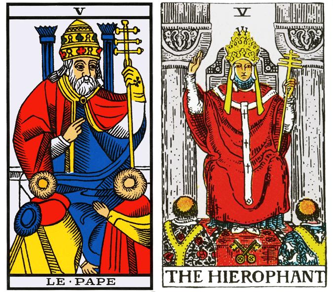 Tarot de Marselha e Tarot Universal de Waite - Como ler tarot - Arcano V, O Hierofante