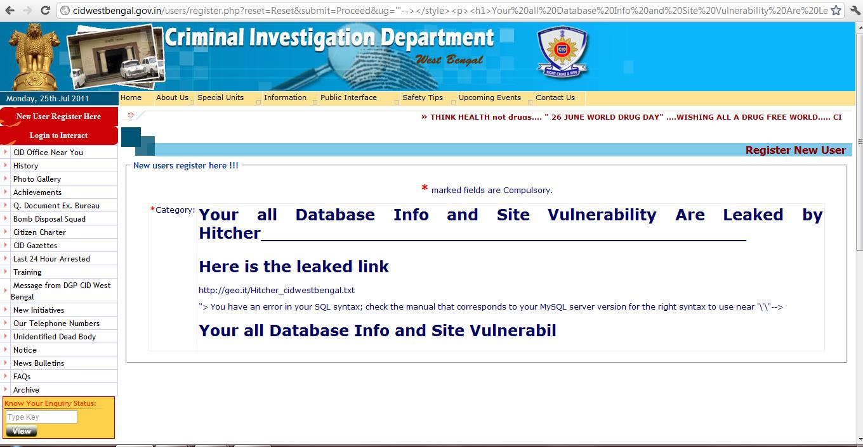 Cid criminal investigation department of wb is vulnerable sensitive data leeked by hitcher - Criminal bureau of investigation mn ...