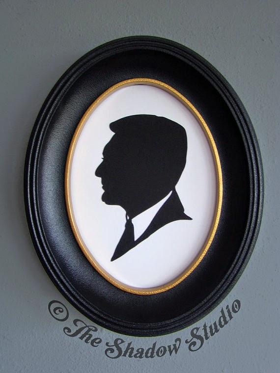 Silueta retallada en cartró negre de Cary Grant