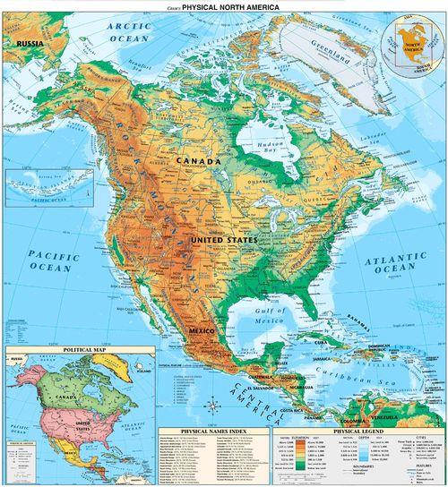 Ciencias Sociales Mapas fsicos de Amrica del Norte