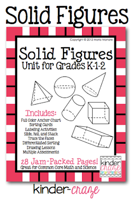 Solid Figures Unit for K-1-2, $8