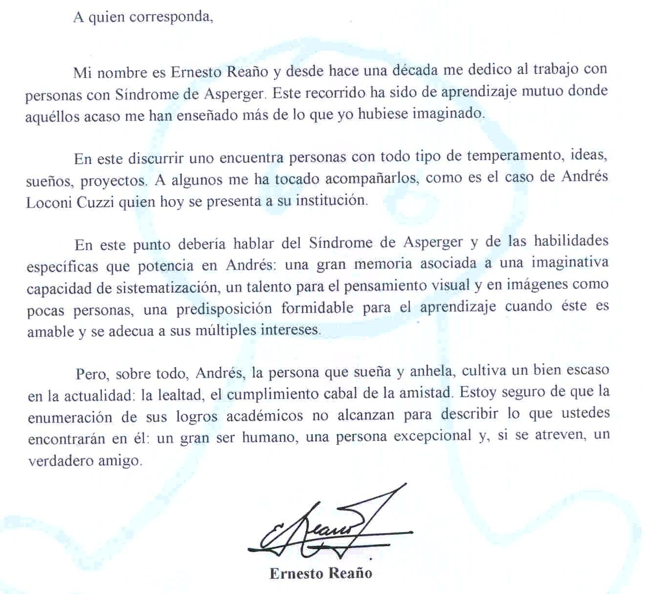 Otro mundo maravilloso ... Andrés: Carta de presentación de un amigo