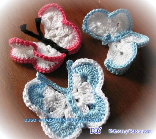 Paso a paso de mariposas tejidas al crochet