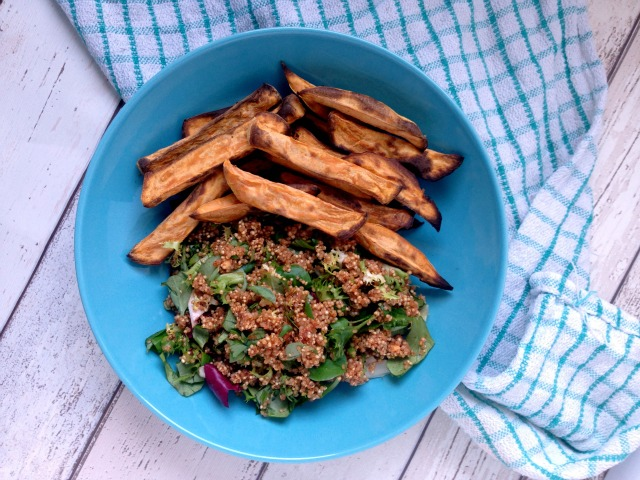 Spicy Quinoa Salad with Sweet Potato Wedges (with Florette)