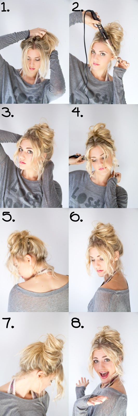 hair tutorial, messy bun, fun, hairstyle, blonde