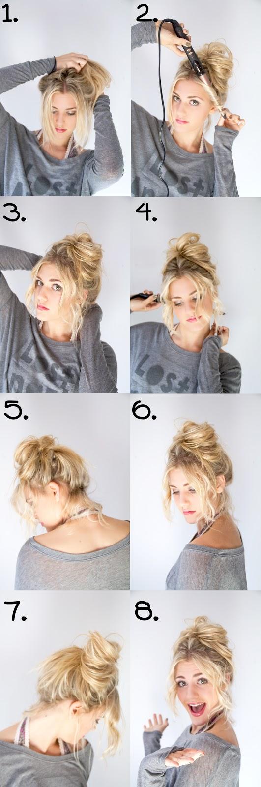 hair tutorial, messy bun, fun, hairstyle, blonde
