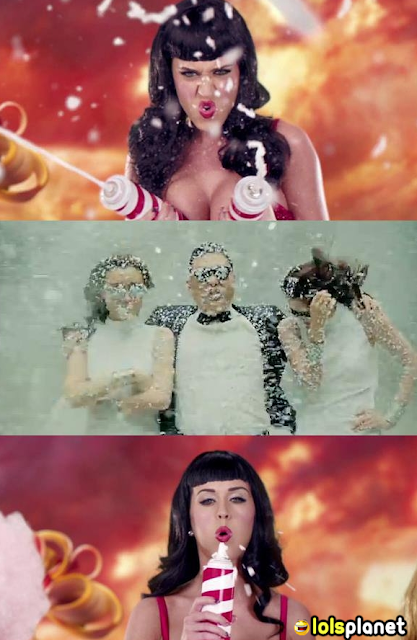 Funny pic showing how katy perry just wins over the battle with the new psy in their new song. katy perry wins.trolled psy. funny picture.