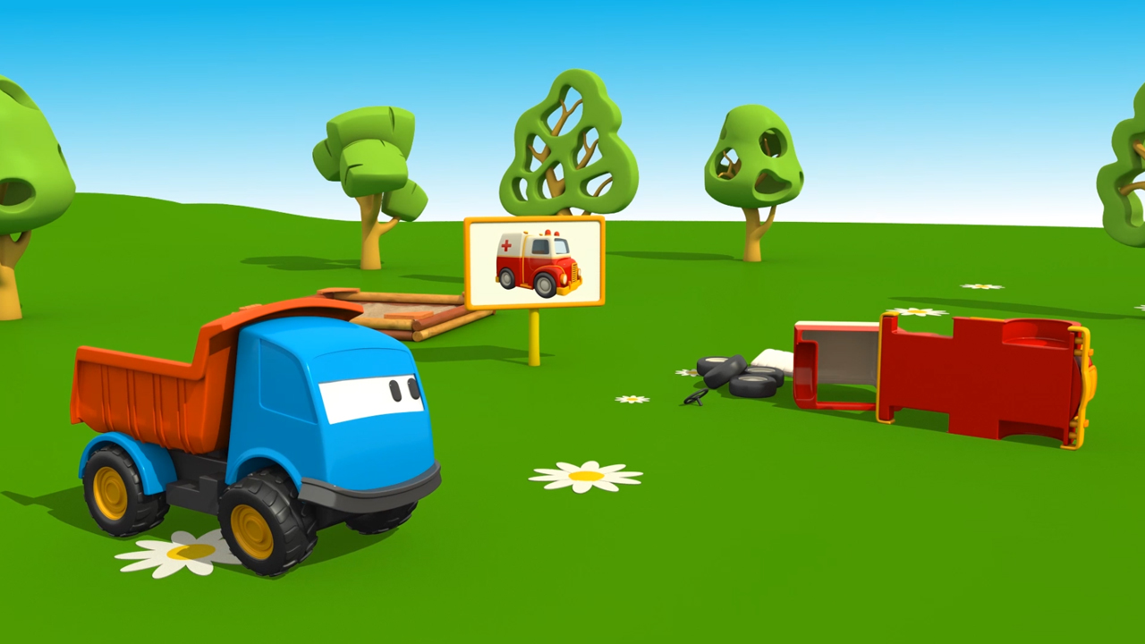 Leo il camion curioso e l ambulanza cartoni animati per bambini