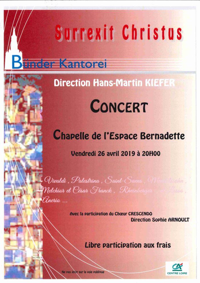 Concert à la Chapelle de l'Espace Bernadette le 26 avril à 20h00