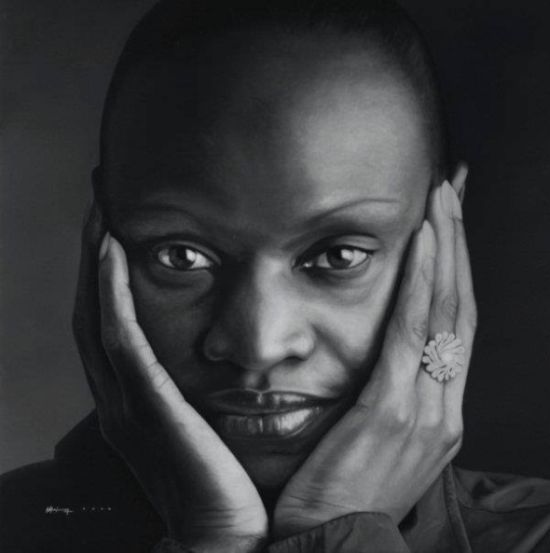 Juan Carlos Manjarrez hyper-realistic paintings portraits black and white Simone