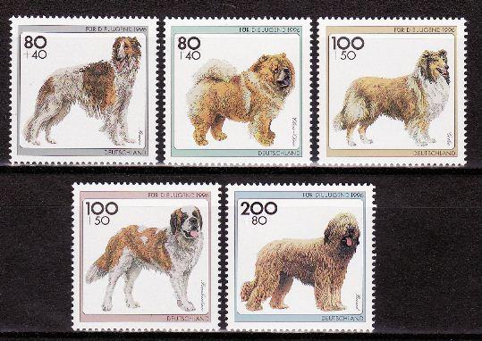 1996年ドイツ連邦共和国 ボルゾイ チャウ・チャウ ラフ・コリー セント・バーナード ブリアードの切手