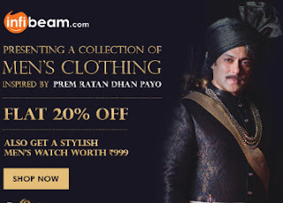 Infibeam : Buy Prem Ratan Dhan Payo Sherwani collection And Get At flat 20% Off With a Stylish Men's Watch ?free ?worth Rs 999? – BuyToEarn
