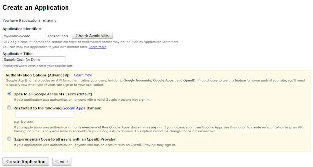 Google App Engine Create Application