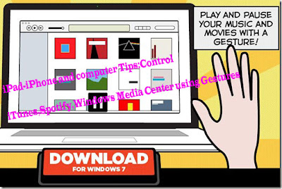 iPad-iPhone and computer Tips: Control iTunes,Spotify,Windows Media Center using Gestures