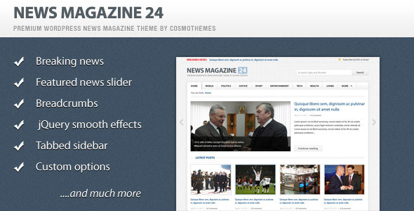 News Magazine 24 WordPress Theme Free Download by ThemeForest.