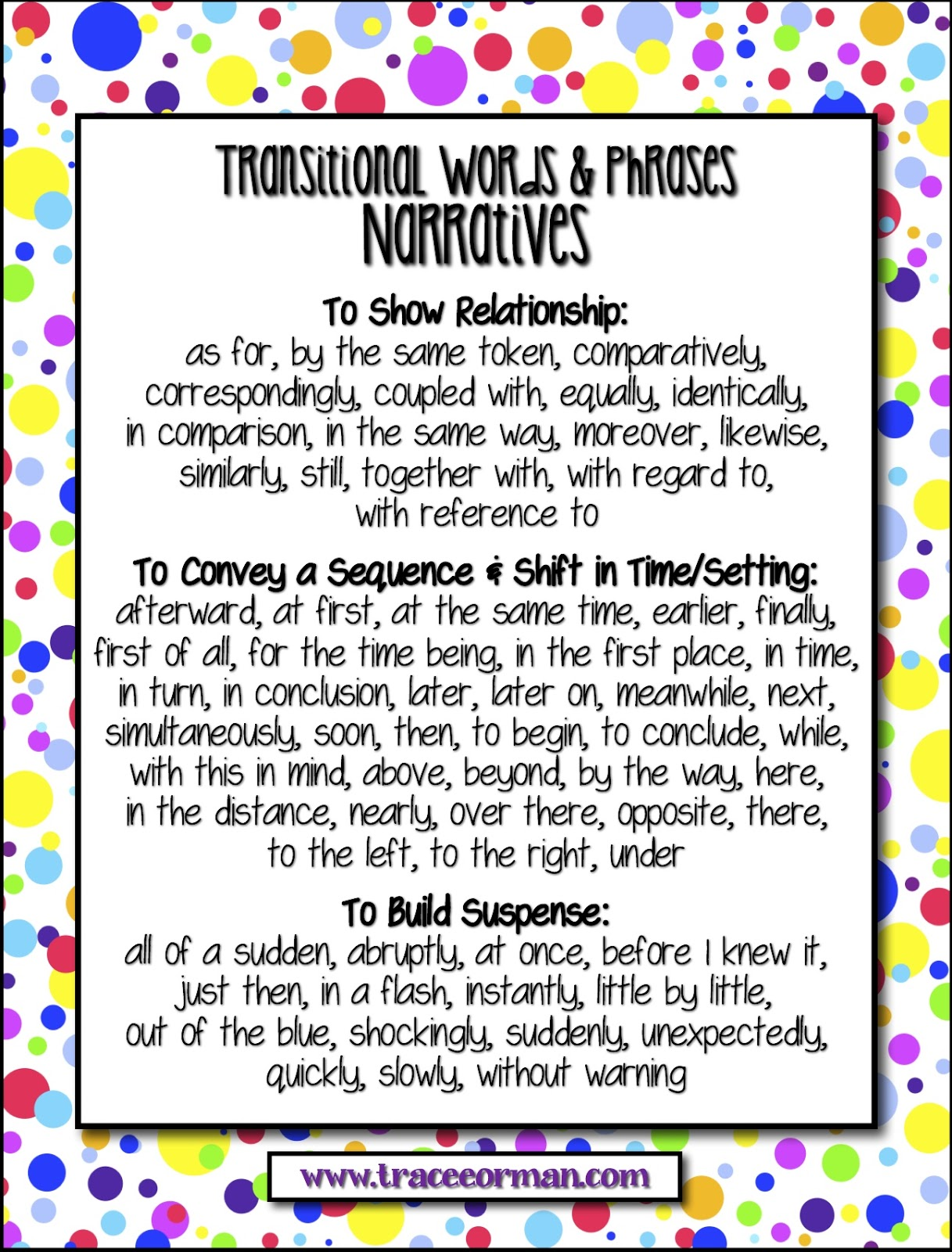 worksheet Transitional Words And Phrases Worksheet mrs ormans classroom common core tips using transitional words transitions for narratives anchor chart www traceeorman com