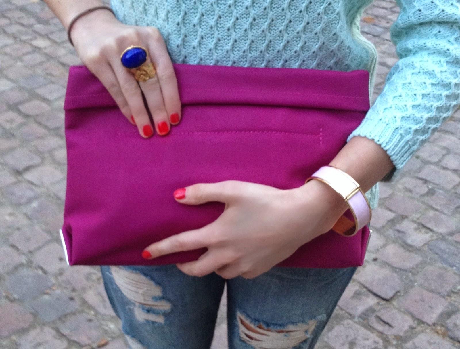 hermes style bracelet, hm bracelet, h&m bracelet, ysl ring, ysl arty ring, pink clutch