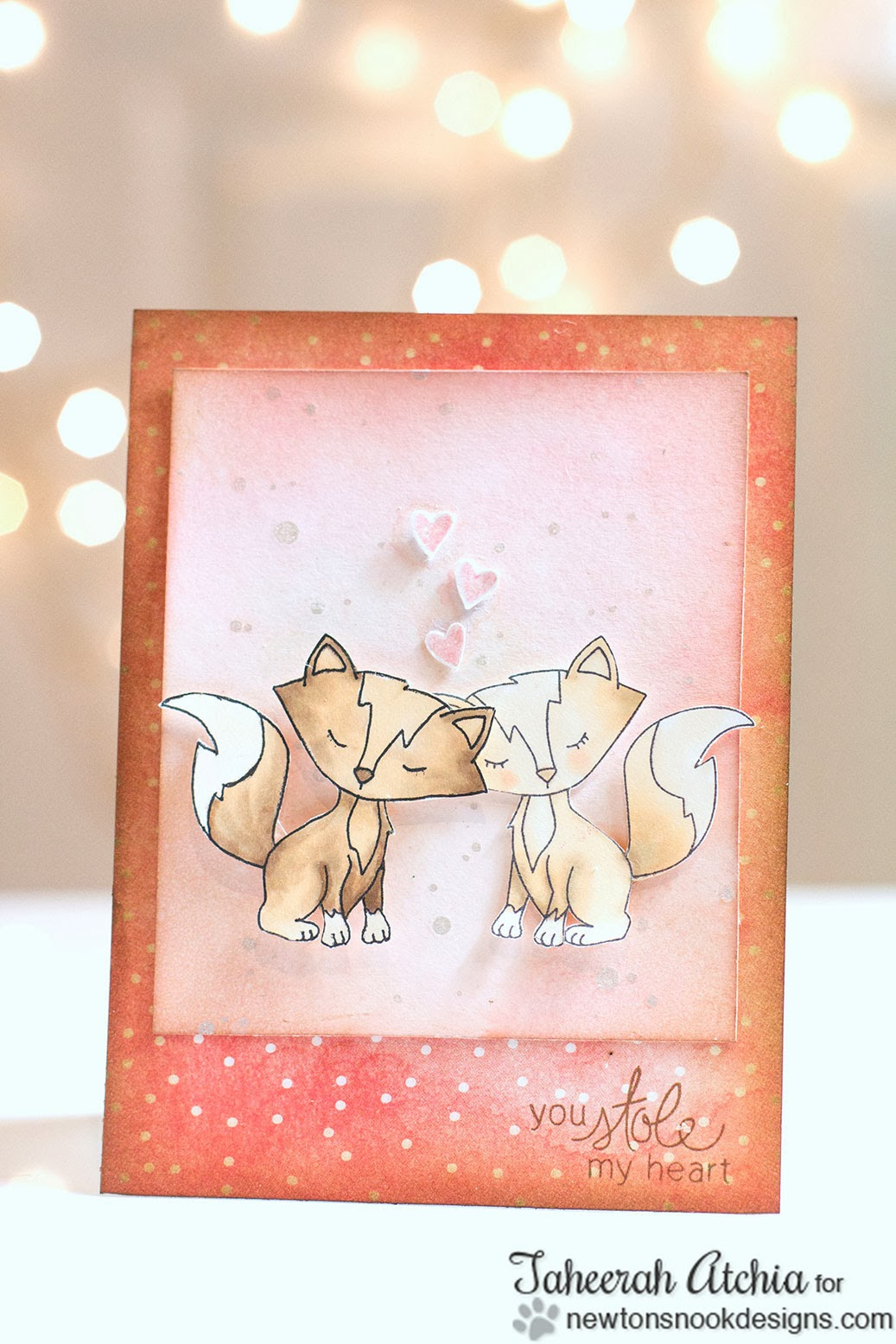 Fox Valentine Card by Taheerah Atchia for Newton's Nook Designs