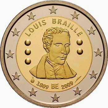 2 euro Belgium Commemorative Coins 2009, 200th Anniversary of birth of Louis Braille