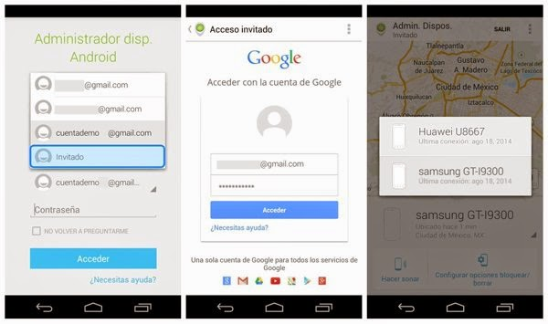 Android Device Manager Acceso Invitados