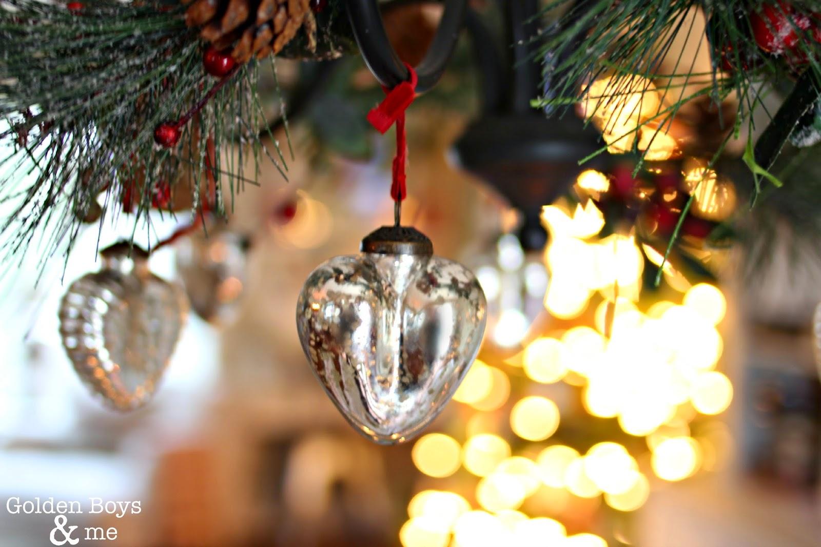 mercury glass ornament on chandelier-www.goldenboysandme.com