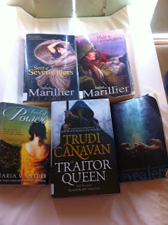 seer of seven waters, heir to seven waters by Juliet Marillier, Traitor queen by trudi canavan, touch of power, by maria snyder Revealers by Amanda Marrone