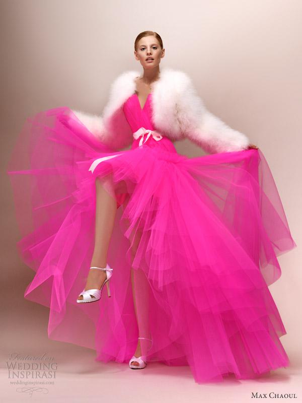 Robe de cocktail rose fluo