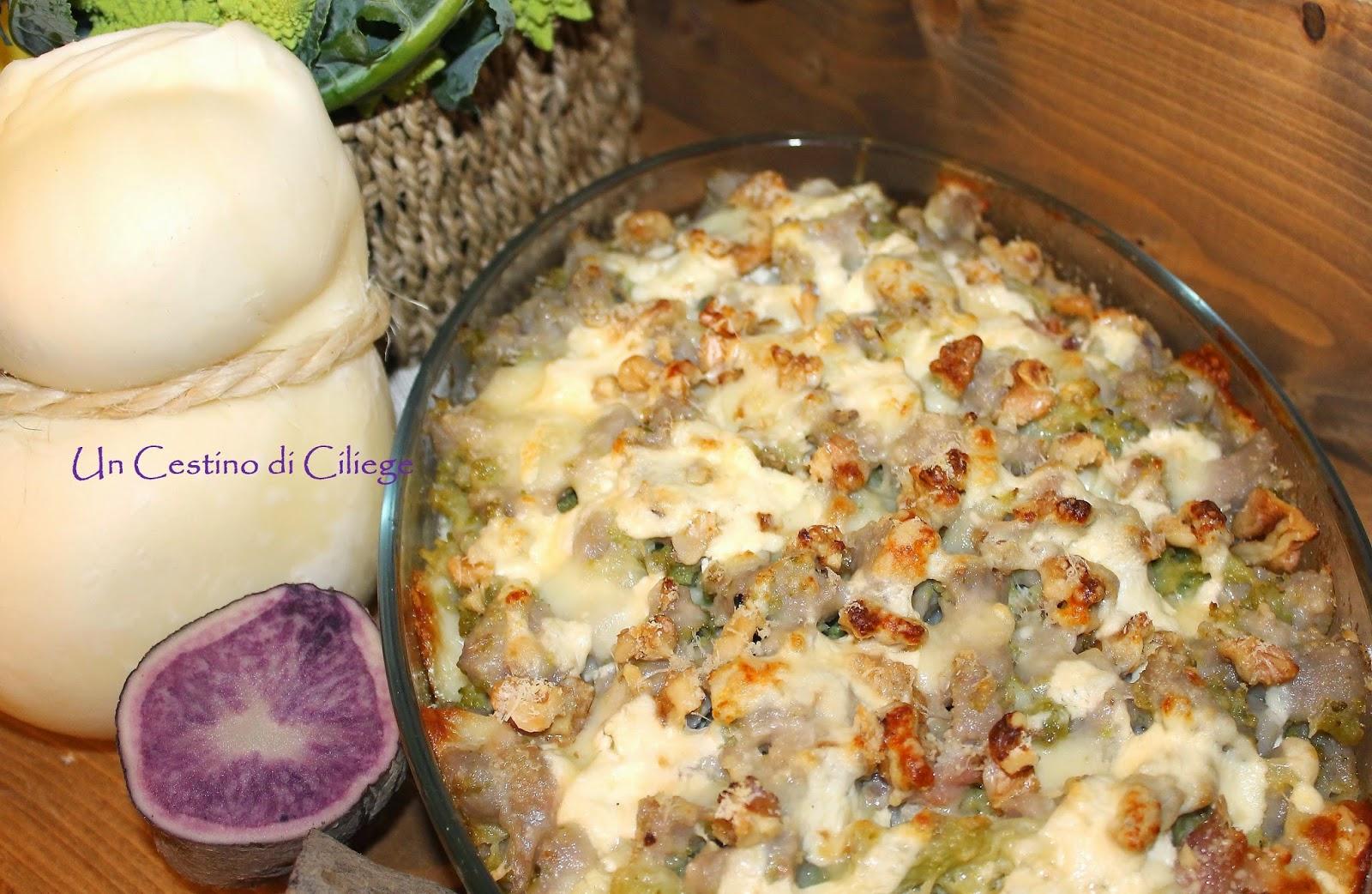 gratin di gnocchi di patate viola con broccolo caciocavallo e......