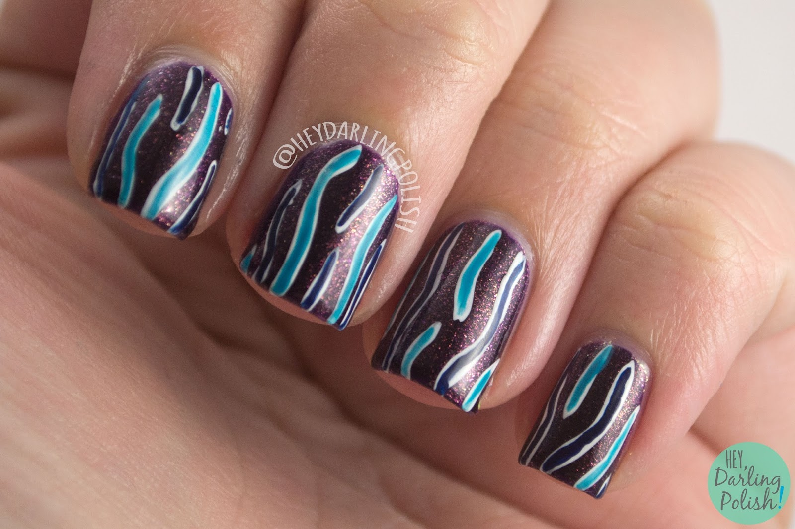 nails, nail art, nail polish, hey darling polish, stripes, purple, blue, wavy lines, the nail challenge collaborative